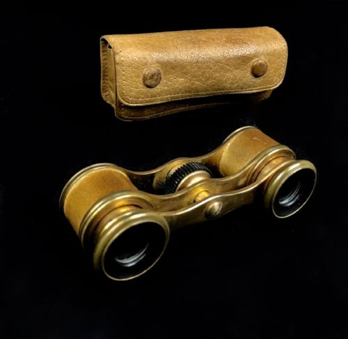 Antique Leather And Brass Miniature Opera Glasses In Original Case